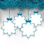 Placez les flocons de neige de papier de Noël avec l'espace de copie pour votre texte illustration stock