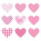 Placez les formes de coeurs avec la texture rose de couleur Point de polka différent, modèle à carreaux Milieux de calibre de vec illustration stock
