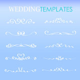 Placez les frontières de pochoir de mariage, ligne élément de calibre pour la conception, formes élégantes de rouleau de courbe Images libres de droits
