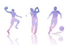 Placez les golfeurs, le football et le basket-ball de formes illustration stock