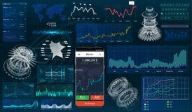 Placez les graphiques et les diagrammes HUD UI pour les affaires APP illustration de vecteur
