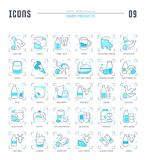 Placez les icônes de Blue Line des laitages Illustration de Vecteur