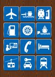 Placez les icônes de l'aéroport, station service, port, station de train, funiculaire, mécanique Icônes dans la couleur bleue sur Photos stock