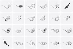 Placez les icônes de sports le football, tennis, base-ball, basket-ball, football, volleyball, golf, hockey, floorball et beaucou Illustration Libre de Droits