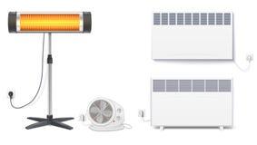 Placez les icônes des appareils de chauffage, appareils électroménagers sur un fond blanc Convecteur, radiateur, appareil de chau Photo libre de droits