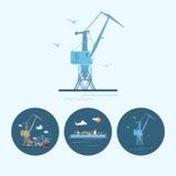 Placez les icônes avec la grue, le navire porte-conteneurs de cargaison, la grue avec des récipients dans le dock, illustration d Photo stock