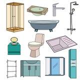 Placez les icônes colorées par contour pour la salle de bains sur un fond blanc Photo libre de droits