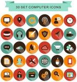 Placez les icônes d'ombre d'ordinateur Image stock