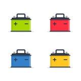 Placez les icônes de batterie de voiture d'isolement sur le fond blanc Batterie d'accumulateur de puissance et d'électricité d'én Images stock