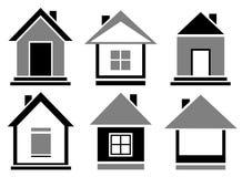 Placez les icônes de cottage Image libre de droits