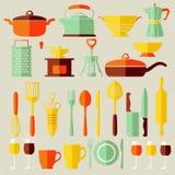 Placez les icônes de cuisine de vecteur, style plat Photos stock