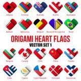 Placez les icônes de drapeau sous forme de coeur Je l'aime Image libre de droits