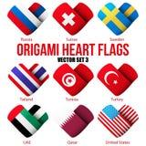 Placez les icônes de drapeau sous forme de coeur Je l'aime Photographie stock libre de droits