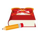 placez les icônes de fournitures scolaires Photo libre de droits