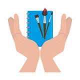 placez les icônes de fournitures scolaires Photo stock