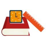 placez les icônes de fournitures scolaires Image libre de droits