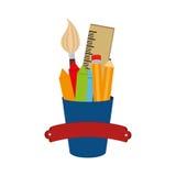 placez les icônes de fournitures scolaires Images stock