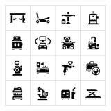 Placez les icônes de l'équipement de service de voiture illustration de vecteur
