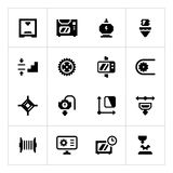 Placez les icônes de l'impression 3D Photographie stock libre de droits