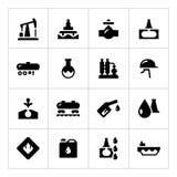 Placez les icônes de l'industrie pétrolière  Photos stock