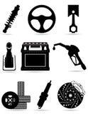 Placez les icônes de la défectuosité noire de vecteur de silhouette de pièces de voiture Images stock