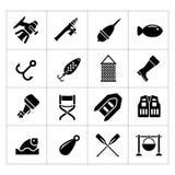 Placez les icônes de la pêche Photo stock