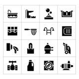 Placez les icônes de la piscine Photographie stock libre de droits