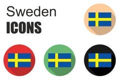 Placez les icônes de la Suède Images libres de droits