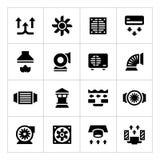Placez les icônes de la ventilation et du traitement Image libre de droits