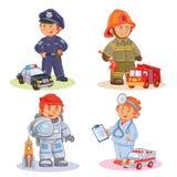 Placez les icônes de vecteur de différentes professions de petits enfants Photos stock