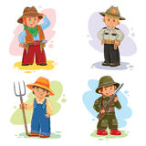Placez les icônes de vecteur de différentes professions de petits enfants Photos libres de droits