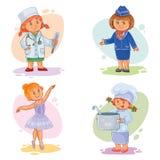 Placez les icônes de vecteur de différentes professions de petits enfants Image libre de droits
