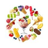 Placez les icônes de vecteur de la crème glacée  Image libre de droits