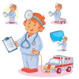 Placez les icônes de vecteur du petit docteur d'enfant et de son ambulance de jouet Photographie stock libre de droits
