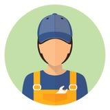 Placez les icônes de voiture Réparez l'avatar Un homme et un femme Réparation de voiture Cercle plat de style d'icône illustration libre de droits