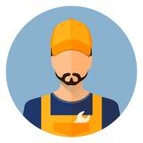 Placez les icônes de voiture Réparez l'avatar un homme Réparation de voiture Cercle plat de style d'icône Vecteur courant illustration de vecteur