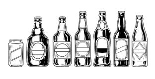 Placez les icônes des bouteilles à bière Photos stock