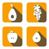 Placez les icônes des friuts de vecteur Photo stock