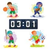 Placez les icônes des garçons jouant le basket-ball, le football, base-ball, tableau indicateur illustration de vecteur