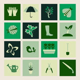 Placez les icônes des symboles de jardinage et de ressort Images libres de droits