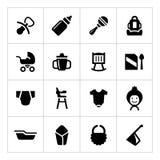 Placez les icônes du bébé nouveau-né Image stock