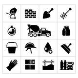 Placez les icônes du ciment et du béton Photos stock