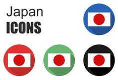 Placez les icônes du Japon Images stock