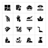 Placez les icônes du nettoyage Images stock