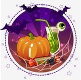 Placez les icônes, les cocktails et le potiron pour Halloween Photos stock