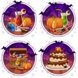 Placez les icônes, les cocktails et le potiron pour Halloween, boîte à sucrerie, cadeau Photos libres de droits