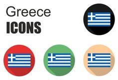 Placez les icônes plates de la Grèce Photographie stock