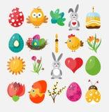 Placez les icônes plates de Pâques pour la conception, vecteur Images libres de droits