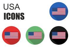 Placez les icônes plates des Etats-Unis Photos stock