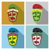 Placez les icônes pour le 23 février - jour des défenseurs de la patrie PO Photographie stock